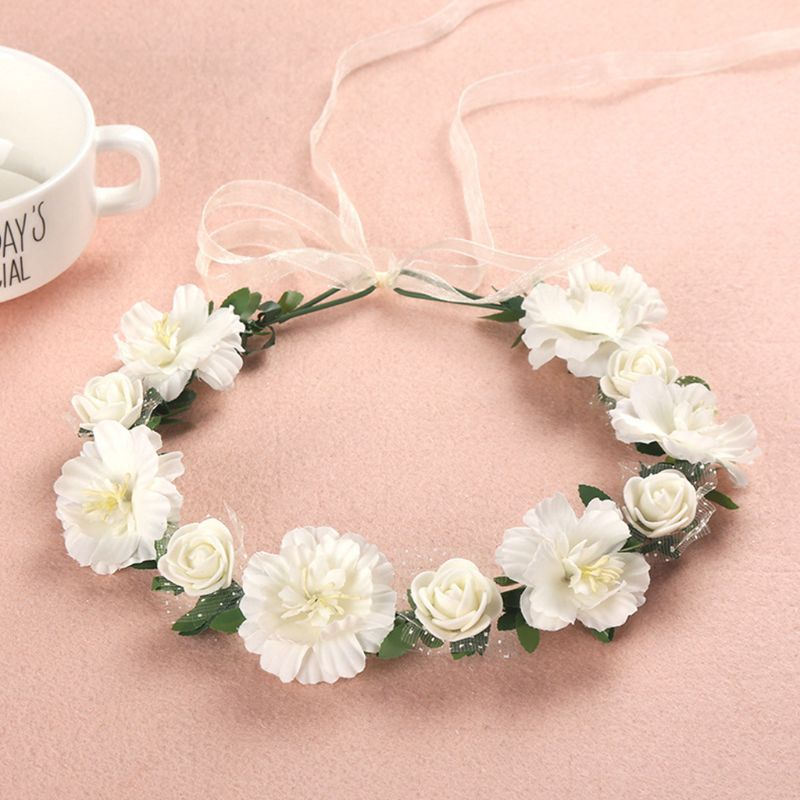 6 Colors Adult Kids Irregular Faux Rose Flower Headband Flower Girls Bridal Wedding Gradient Colored Wreath Crown Mesh Headpiece