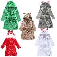 Perakende Bebek Kız Ve Erkek Pijama Hayvan Elbiseler Kış Banyo Robe Çocuk Kız Pijama Giysi YUPAO