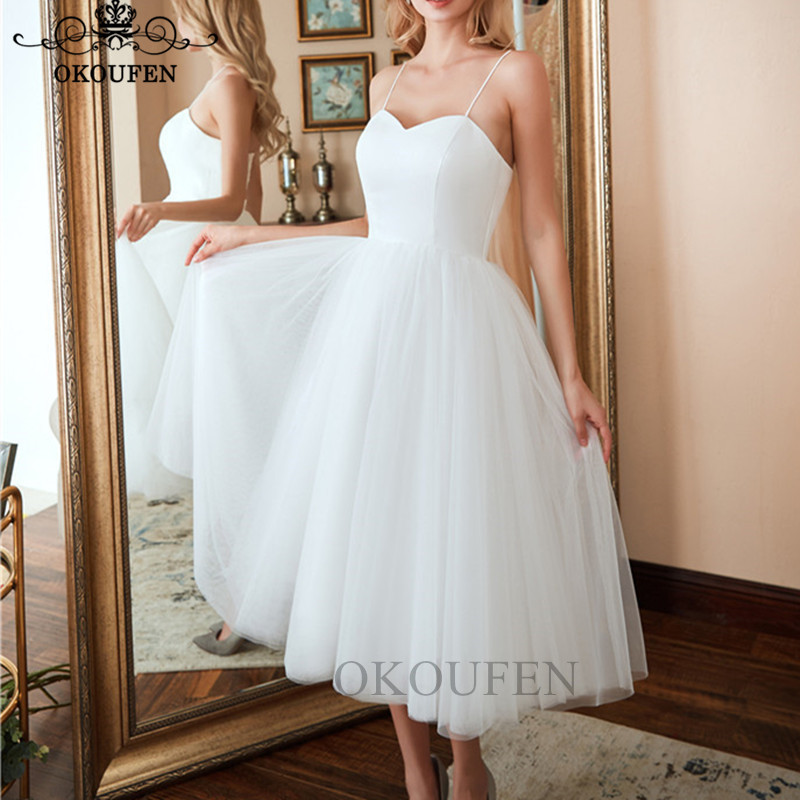 2019 Bohemia Boho   Bridesmaid     Dresses   Tea Length White Tulle Spaghetti Strap A Lone Party   Dress   Maid Of Honor For Women