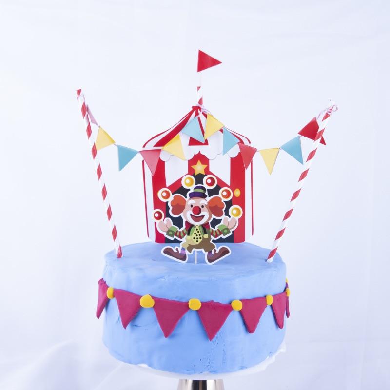 Fantastic Cartoon Pattern Circus Series Smiley Clown Colorful Hanging Flag Funny Birthday Cards Online Inifodamsfinfo