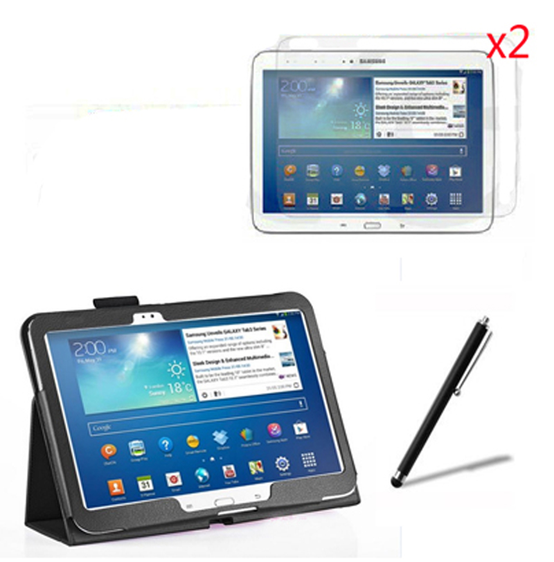 4in1 Luxury Magnetic Folio Stand Leather Case Cover +2x Screen Protector +Stylus For Samsung Galaxy Tab 3 10.1 P5200 P5210 10.1