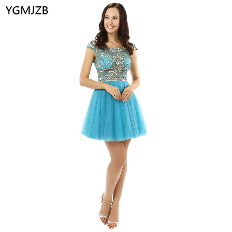 Little   Dress     Cocktail     Dresses   2018 A-Line Cap Sleeves Heavy Beaded Crystal Tulle Party   Dress   Plus Size Short Prom   Dress