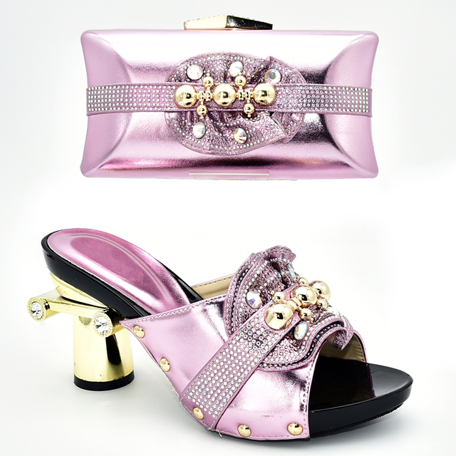 Latest Design Italian Shoes with Matching Bag Set Decorated with Rhinestone Bag and Shoes Set Italy African Party Shoes with Bag