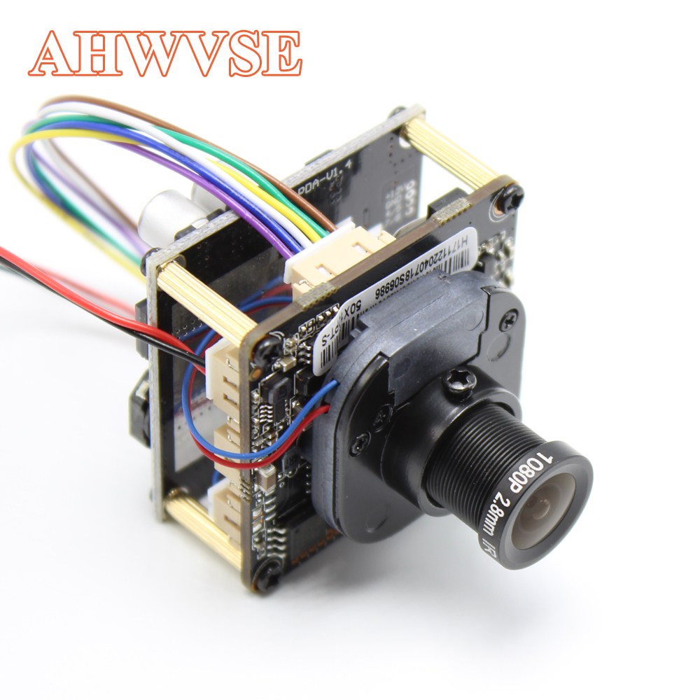 AHWVE Wide View 2.8mm Lens POE IP Camera Module Board With IRCUT RJ45 Cable DIY CCTV Mobile APP XMEYE 960P 1080P 2MP ONVIF H264