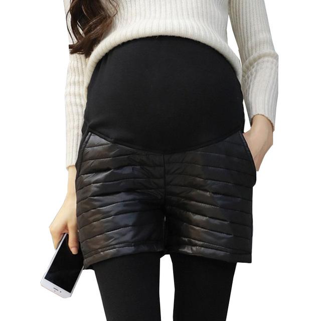 Pu Patchwork de Cuero Pantalones Cortos de Moda de Maternidad, Además de Terciopelo de Invierno Cortos Pantalones Cortos Embarazadas Gestantes Premama Sólido Negro