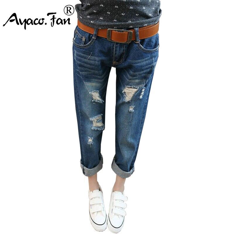 14e685b42 Mulheres Calças de Brim 2018 Primavera Verão Denim Calças Harém Buraco  Rasgado Atacado Feminino Casual Solta Calça Jeans Plus Size 38 das Mulheres  calças
