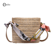 CUMYKA Straw Bag For Women New Small Hand-woven Scarves Handbag Mini Flap Shoulder Weave Crossbody Bags Ladies Beach