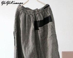 Image 3 - YoYiKamomo 2018 New Women Loose Pants Original Vintage Plaid Cross Pants Elastic Waist Big Size Women Trousers