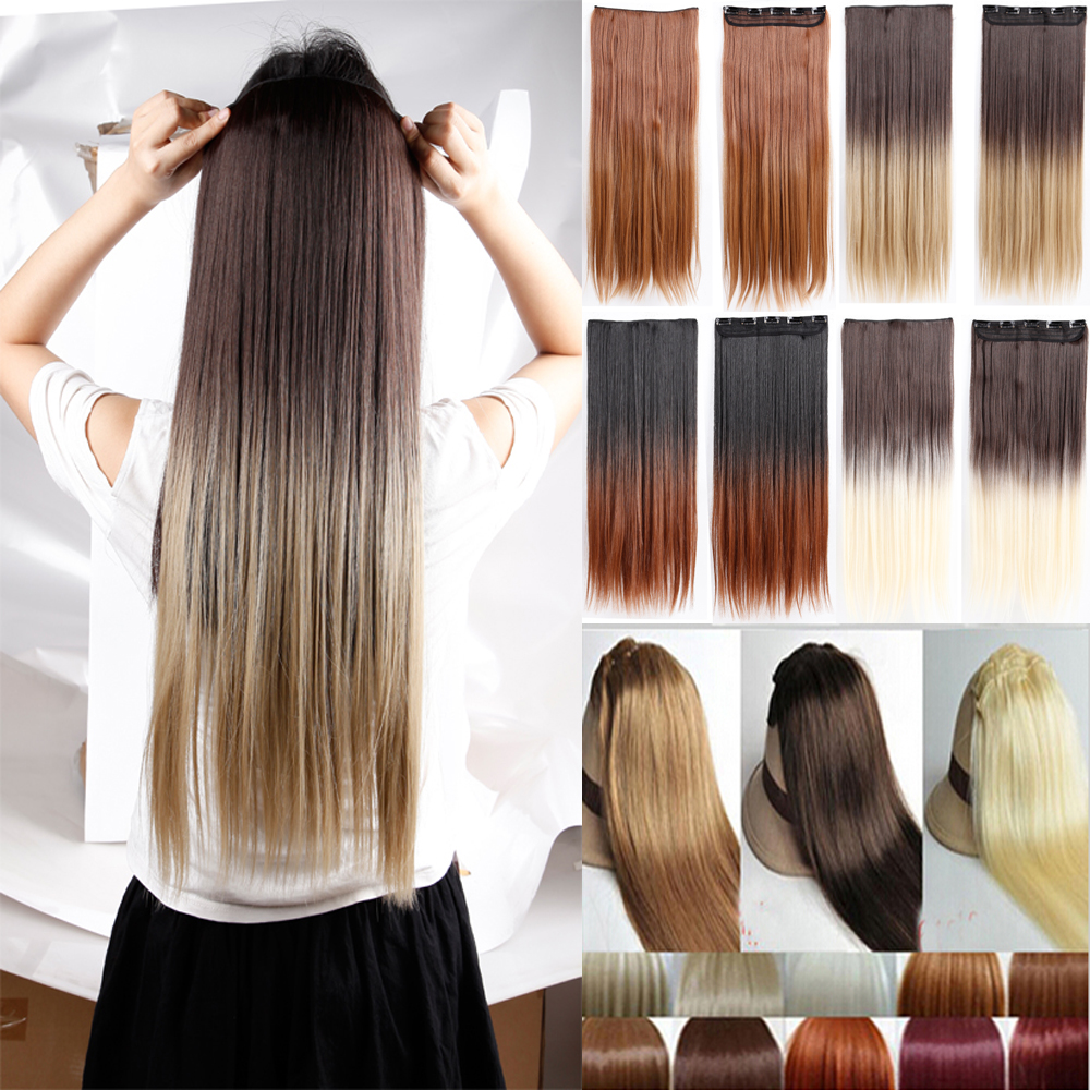 Ombre hair extensions light brown to blonde hairsstyles natural straight hair clip in on extensions 25 inch 63cm pmusecretfo Images
