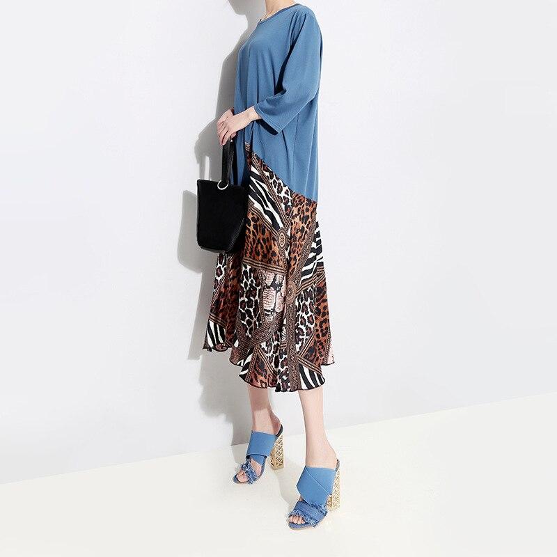 Kleid Fr Sommer Leopard Blau Schwarz Patchwork Bodycon Vintage Wrap Workwear Midi Muster Kleider Sexy Frauen O8n0Pwk