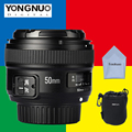 Yn50mm yongnuo 50mm lente f/1.8 af/mf gran apertura de enfoque automático para nikon d3300 d5300 d3200 d7200 canon 600d 60d eos dslr cámara