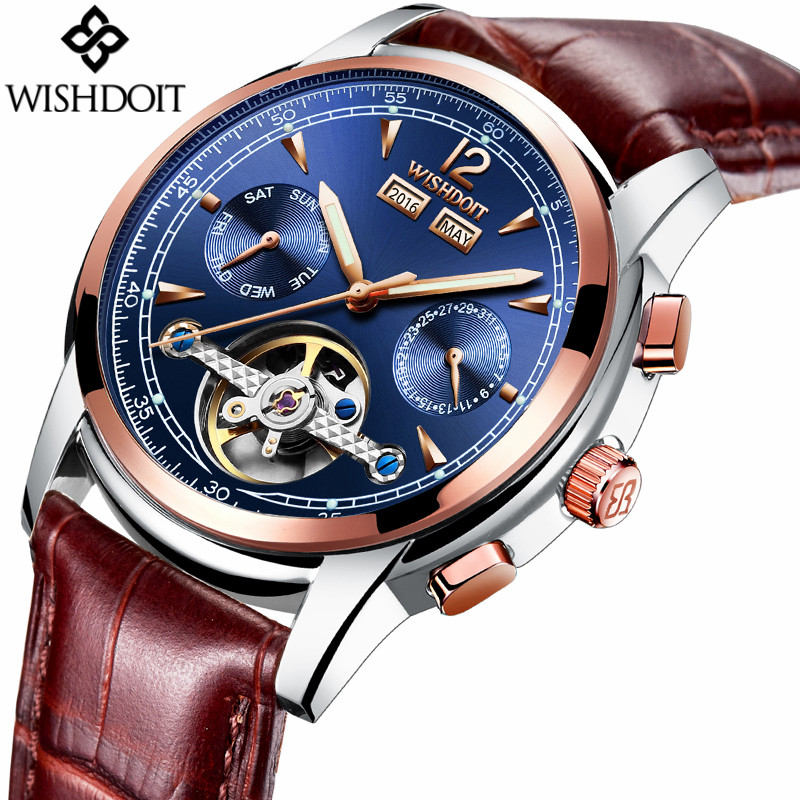 WISHDOIT Luxury Brand Tourbillon Mechanical Watch Men Business Automatic Date Stainless Steel Waterproof Luminous Male Clock girls school blazer v neck formal double breasted kids jacket long sleeve slim solid suit summer 2018 size 9 10 11 12 13 14 year