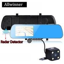 5.0″Android 4.4 Car GPS Navigation rearview mirror Radar Detectors Allwinner 1080P DVR Rear view Navitel 9.5 or Europe map