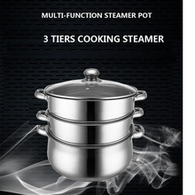 free shipping cooking steamer pot 14L stainless steel 3 layers steaming pot  30cm  cookware set  capsuled bottom