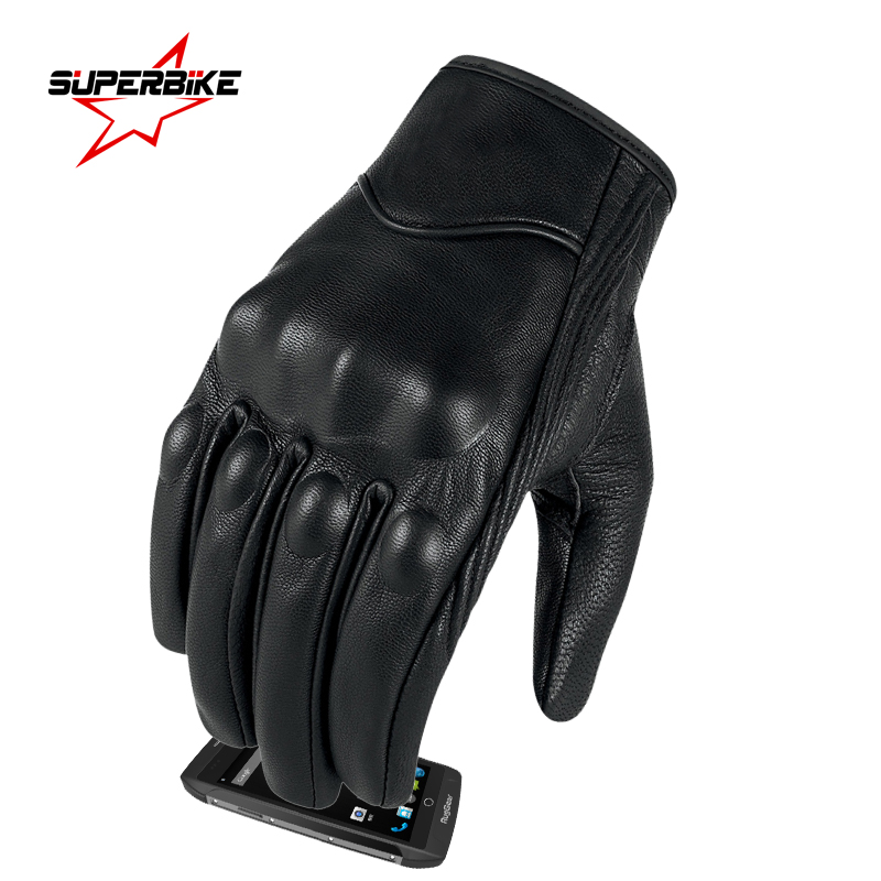 Image 2 - Motorcycle Gloves Leather Touch Screen Men Genuine Goatskin 