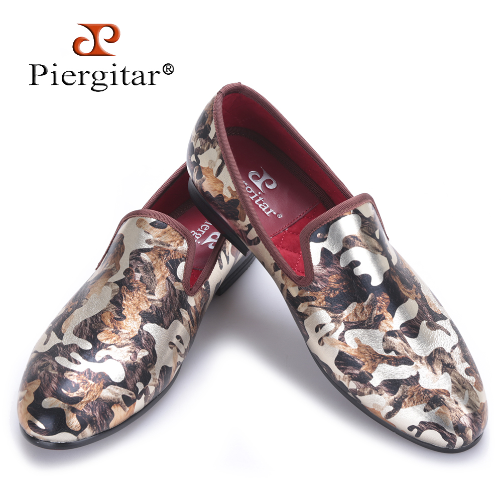 Piergitar Flats-Shoes Smoking-Slippers Camouflage-Printing Male Loafers Big-Size Luxurious