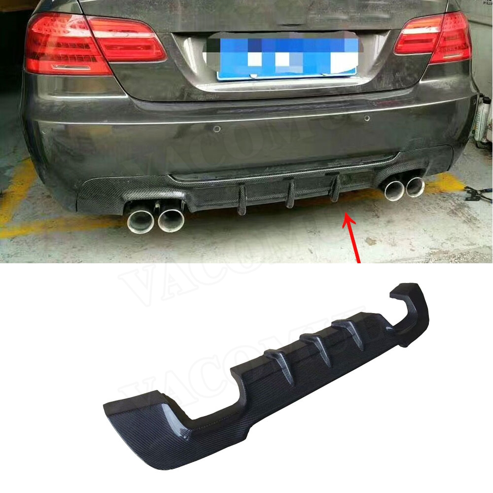Carbon Fiber Rear <font><b>Bumper</b></font> Lip Spoiler for BMW 3 Series <font><b>E92</b></font> E93 M sport Coupe Convertible 2007-2013 Fins Shark Style Diffuser image