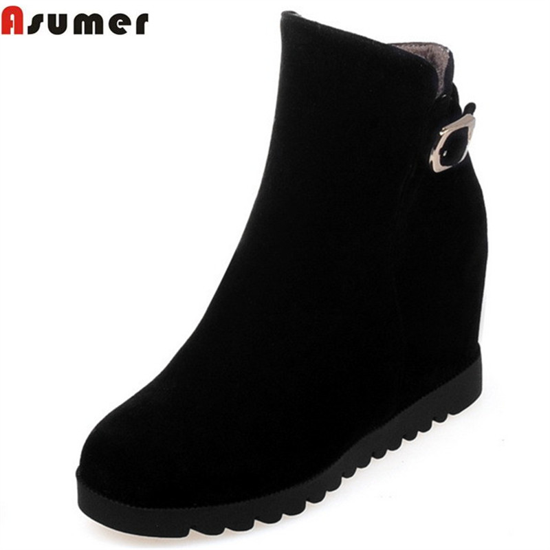 Asumer 2018 hot sale new arrive women boots fashion height increasing ankle boots flock zipper black apricot lady boots цены онлайн