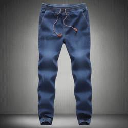 Новинка деним джинсы мужские года 2018 бренд для мужчин хлопок Fit Drawstring брюки для девочек спортивные штаны мужчин's мотобрюки синий
