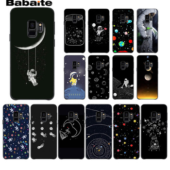 Black With White Moon Stars Space Astronaut Phone Case Cover For Samsung Galaxy s9 s8 plus note 8 note9 s7 s6edge Cover Babaite image