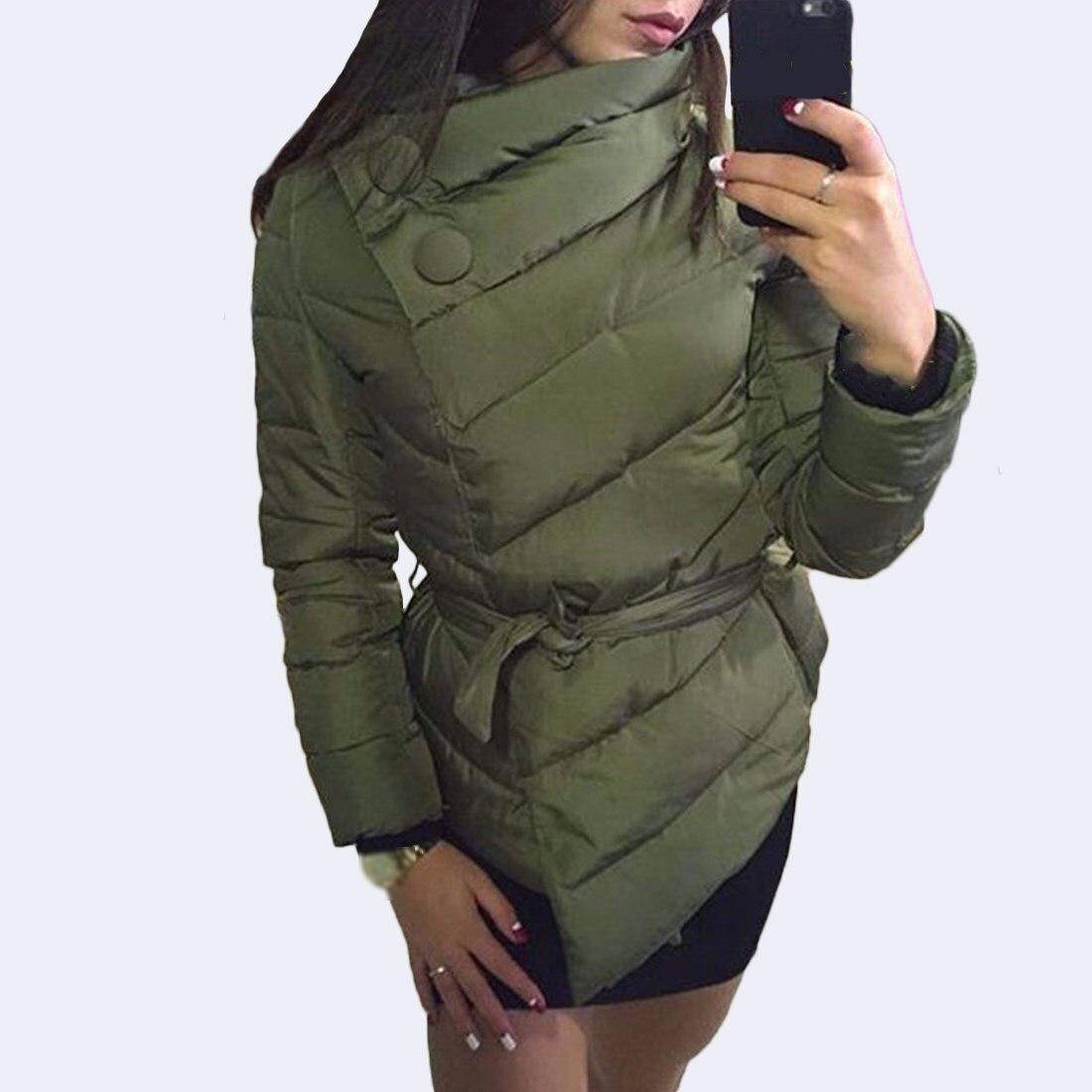 Winter Women Casual Jacket Sashes Female Solid High Neck   Parka   Bandage Warm Coat Overcoat