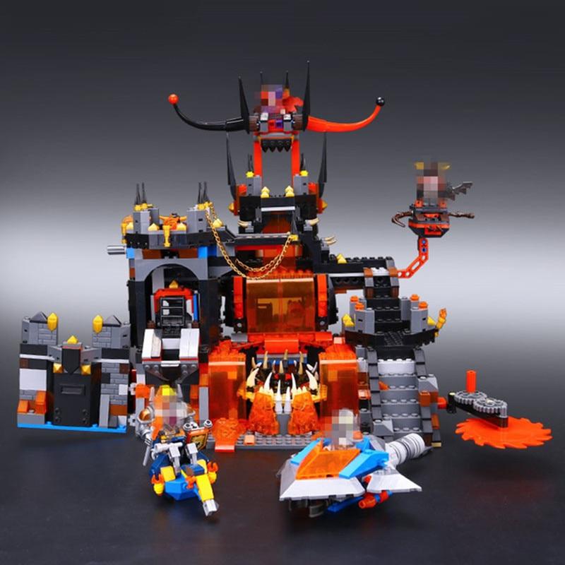 Free Shipping H HXY 1244Pcs 14019 Nexoe Knights Jestros Vulkanfestung LEPIN Model Building Kit Blocks Brick