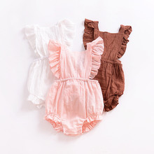 f857c62209b3 Newborn Baby Clothes Infant Girls Summer Linen Romper Kids Cotton Ruffle  Bubble Romper Baby Jumpsuit Clothing