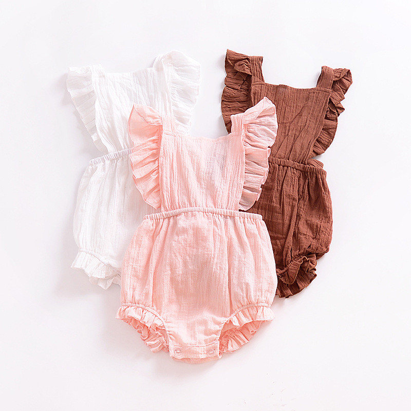 Newborn Baby Clothes Infant Girls Summer Linen   Romper   Kids Cotton Ruffle Bubble   Romper   Baby Jumpsuit Clothing D0683