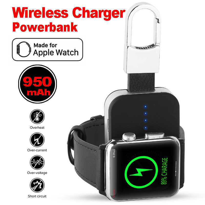 Portable Qi Wireless Charger untuk Apple Watch 1 2 3 4 Series Power Bank 950 MAh Outdoor Mini Charger untuk apple Watch
