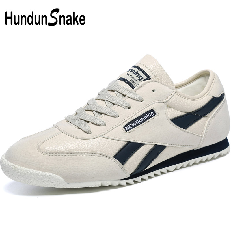 Hundunsnake Grey Leather Women's Running Shoes For Women Sneakers Woman Sports Shoes Men Sport Shoes Woman Walking Athletic T622