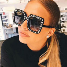 New Luxury Brand Designer Ladies Oversized Square Sunglasses Women Diamond Frame Mirror Sun Glasses For Female