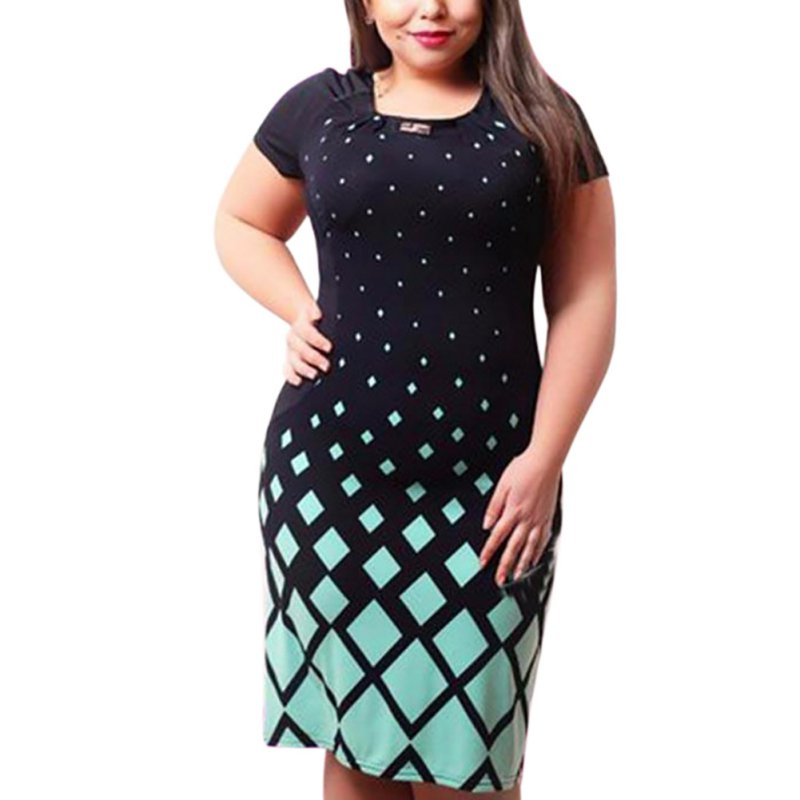 Плюс размеры женская одежда модные женские туфли платье дамы короткий рукав повседневное летние платья Vestidos