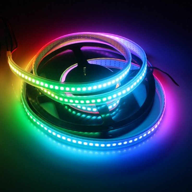 1 M/4 M/5 M WS2812B Smart RGB LED Pixel Strip Hitam/Putih PCB 30/ 60/144 LED/M IC LED Piksel Tahan Air IP67/IP20 DC5V RGB Strip