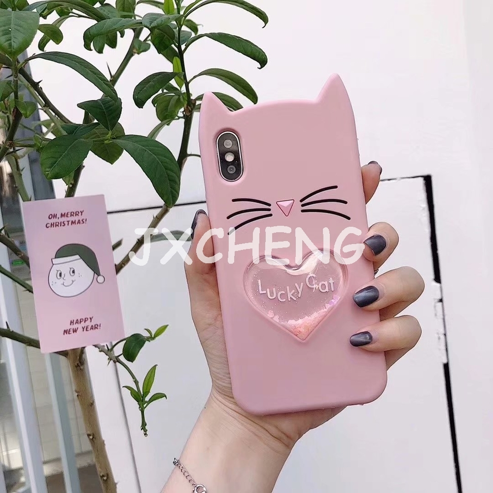 Water Liquid Soft Silicone Case for Samsung Galaxy J2 Pro J4 J6 J8 A6 A7 2018 Glitter Star Black Cat Ears Beard Cover Phone Case