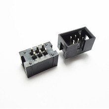 10PCS/Lot DC3 6 Pin 2x3Pin Double Row Pitch 2.54mm Double-spaced Straight Pin Male IDC Socket Box Header Connector High Quality
