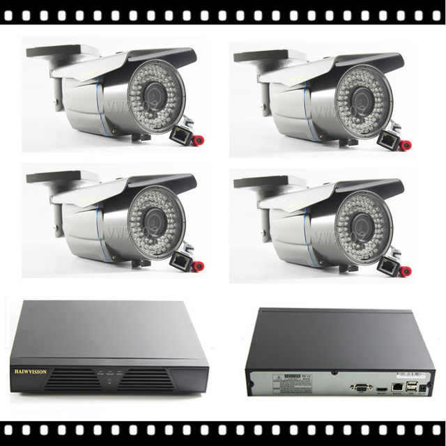 1920*1080P HD 72IR Varifocal 2.8-12mm Outdoor Security IP Camera System Video Surveillance 4CH NVR Kit Vandalproof IP CAM 2MP