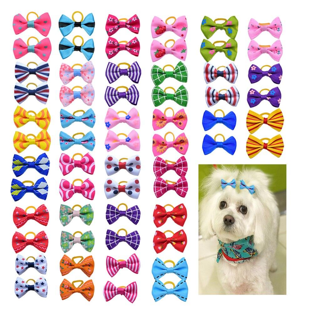 80pcs Pet Dog Bows Dog Hair Grooming Accessories Rubber Bands Pet Cat Hair Bows Pet Handmade Cut Cheap Pet Supplies Dog Bows