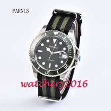 New 40mm Parnis green dial green ceramic bezel luminous marks Sapphire glass miyota Automatic business Men