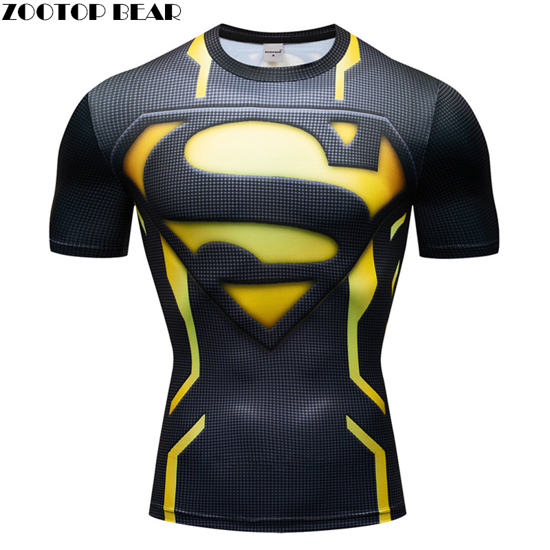 Superman 3D t shirt Men Compression Short Sleeve T-shirt Top Bodybuilding Fitness Male Tshirt Crossfit Homme Anime Superhero Tee