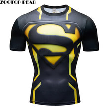 Superman 3D t hemd Männer Compression Kurzarm T-shirt Top Bodybuilding Fitness Männlichen T-shirt Crossfit Homme Anime Superhero T(China)