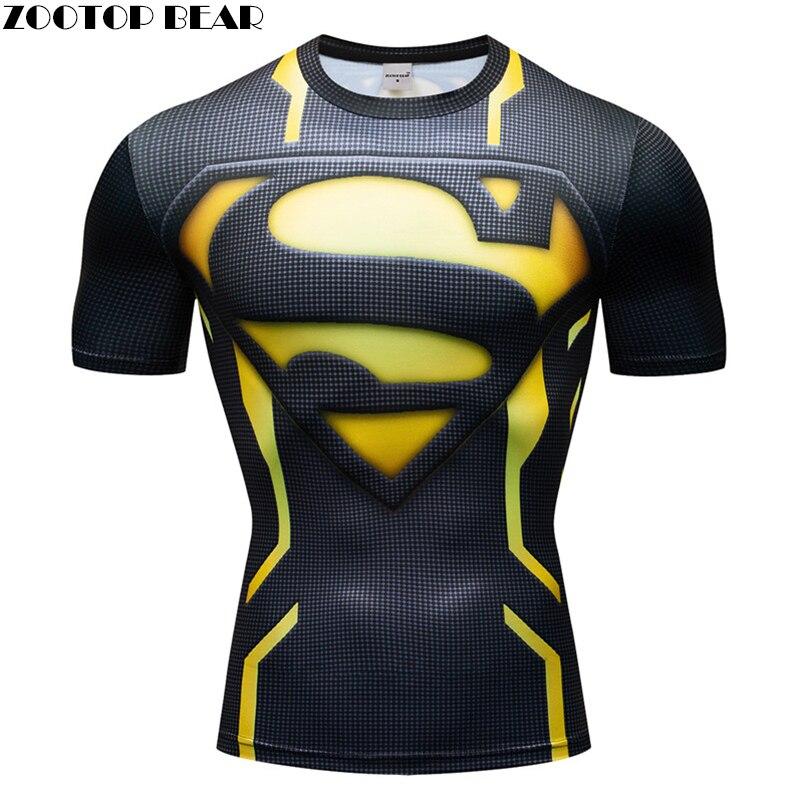 Superman 3D t hemd Männer Compression Kurzarm T-shirt Top Bodybuilding Fitness Männlichen T-shirt Homme Anime Superhero T