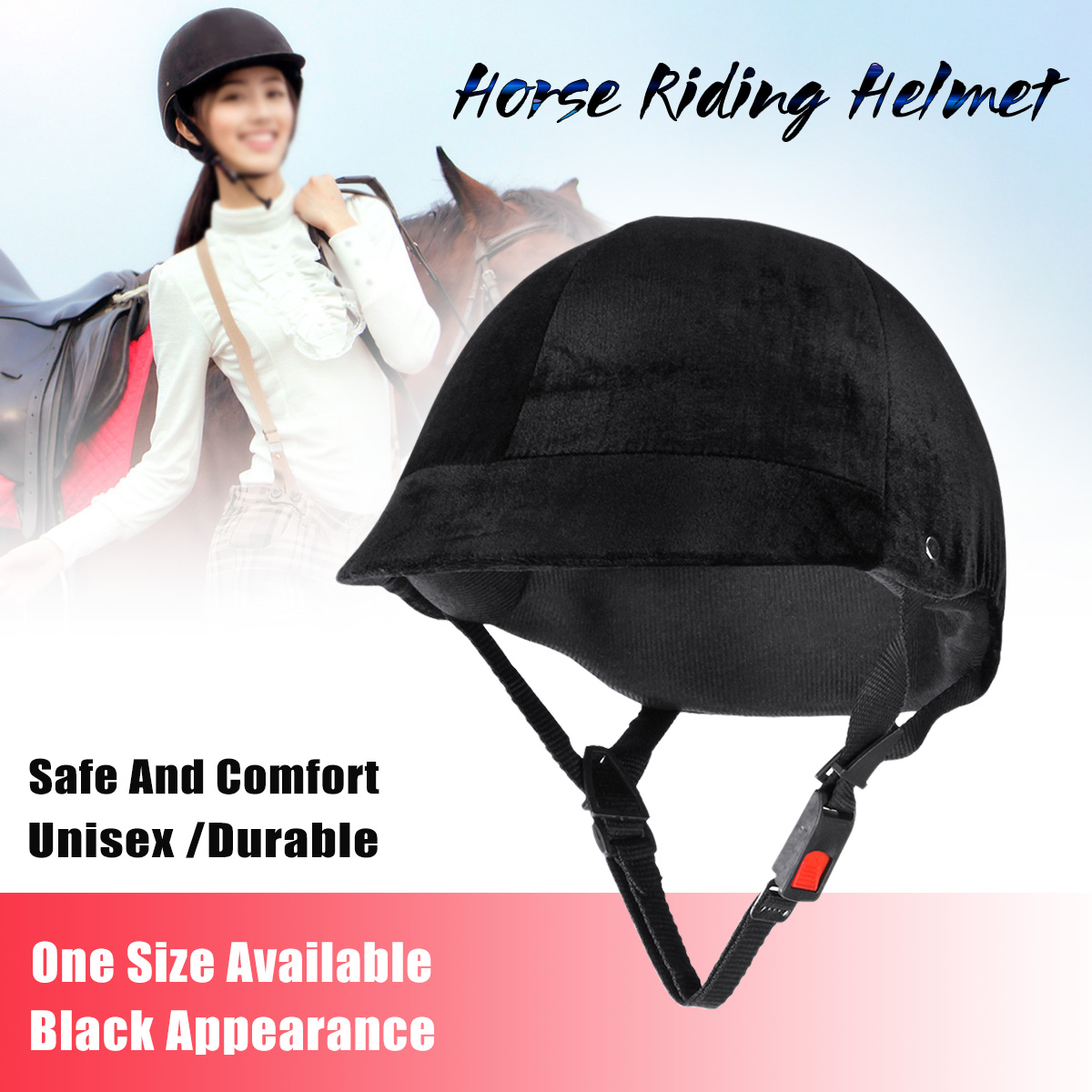 Adjustable Velvet Horse Riding Helmet Head Cap Equestrian Hat Black One Size
