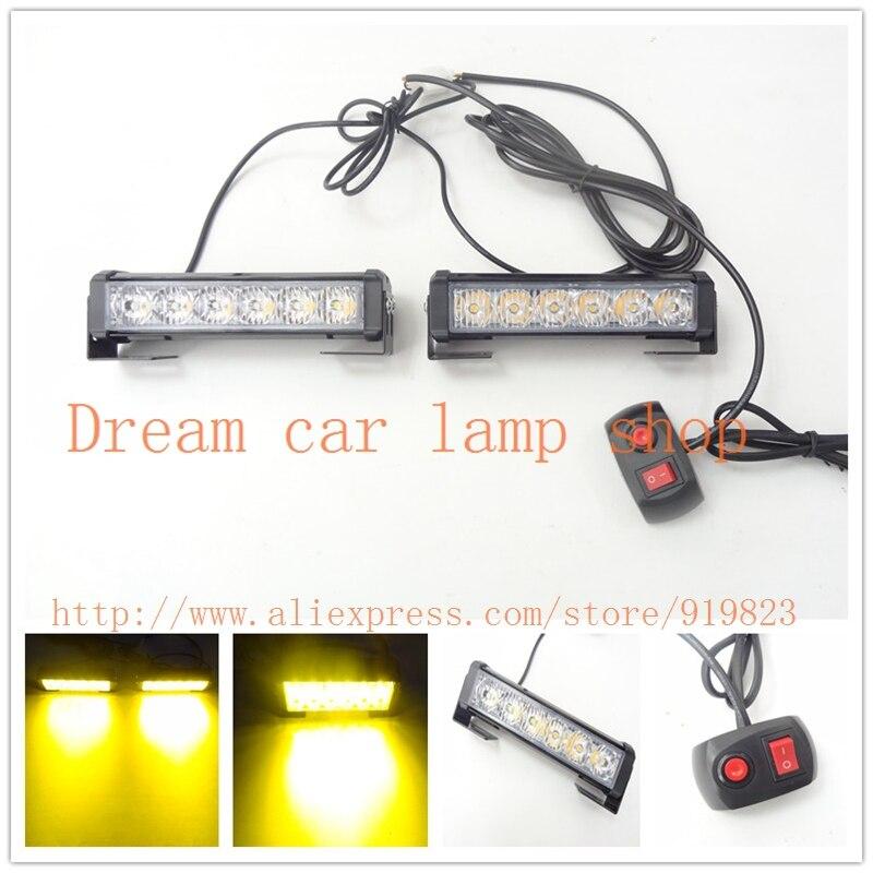 09011 Yellow Amber flash light 12W LED flash high power 2*6 led warning light car emergency led light