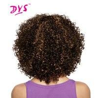 Deyngs Короткие афро кудрявый вьющиеся Синтетические волосы Искусственные парики для черный Для женщин коричневый Цвет Искусственные парики ...