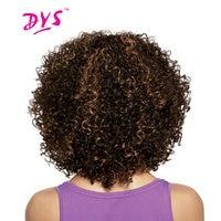 Deyngs הקצר האפרו קינקי קרלי סינטטי שיער לנשים שחורות שיער אפריקאי אמריקאי פאות צבע חום סיבים עמידים בחום