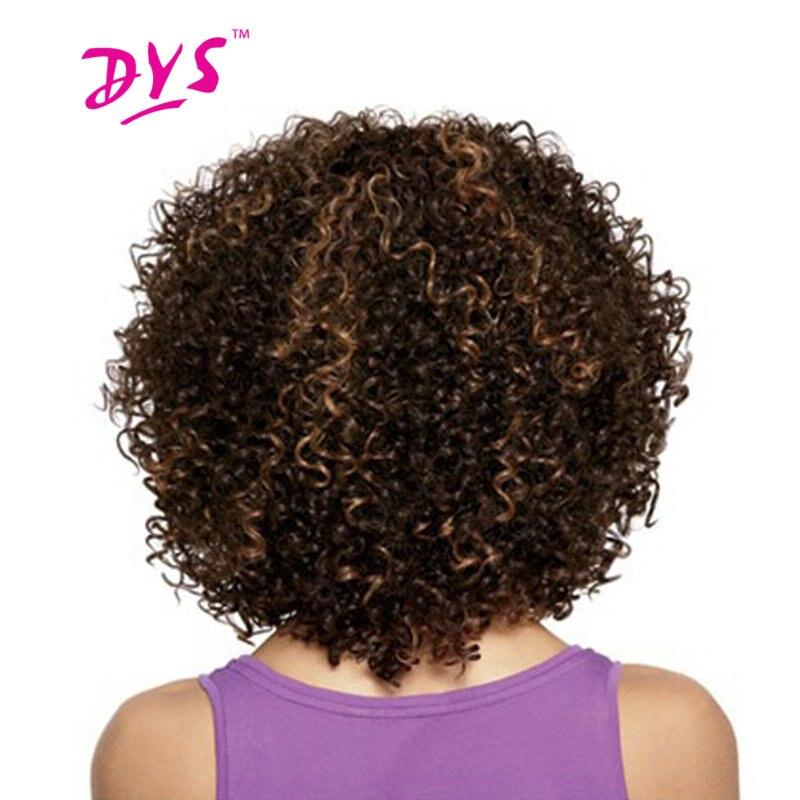 Deyngs Ngắn Afro Kinky Quăn Tổng Hợp Tóc Wigs Đối Với Đen Phụ Nữ Màu Nâu Tóc Giả Mỹ Gốc Phi Chịu Nhiệt Sợi Tóc