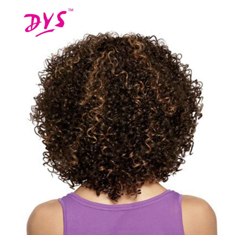Deyngs Short Afro Kinky Curly Synthetic Hair Wigs For Black Women Brown Color Wigs African American Heat Resistant Fiber Hair