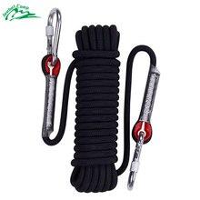 Веревка для скалолазания с 2 крючками 10 мм наружное статическое оборудование для скалолазания шнур веревка безопасности для выживания