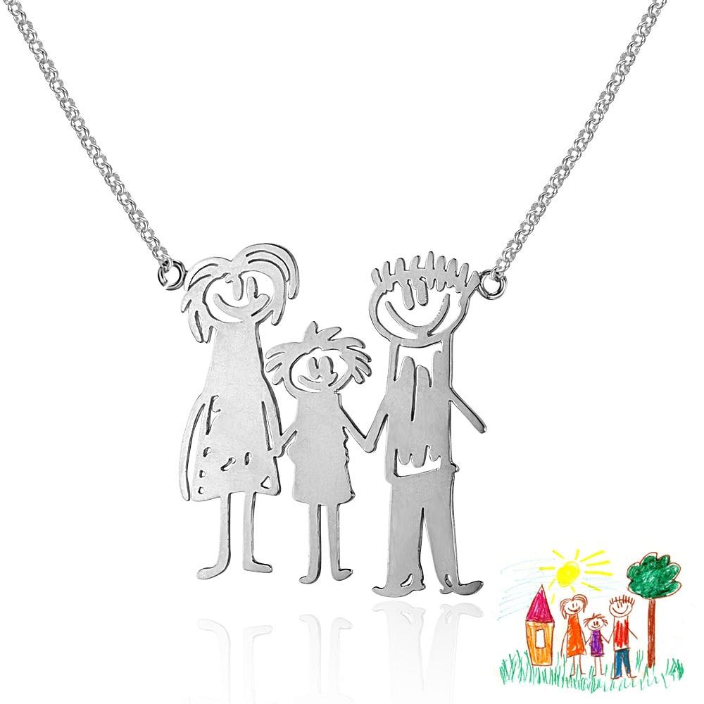 925 sterling silver personlig hänge halsband handskriven bild DIY fin smycken familj barn gåva (NE101672)