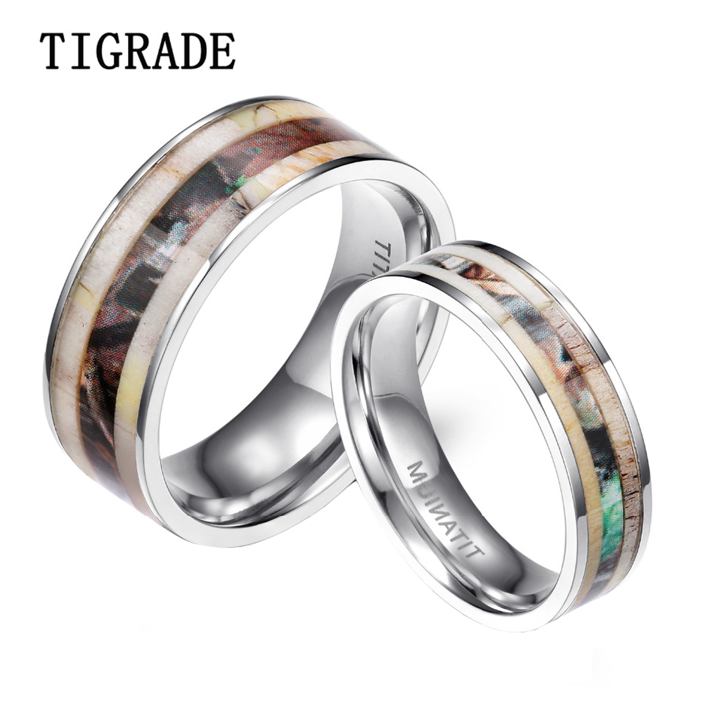 6mm 8mm Men's Titanium Ring Deer Antlers Camouflage Inlay Wedding Band High  Polished Edges Engagement Rings